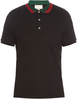 Gucci Contrast-collar cotton-blend piqué polo shirt