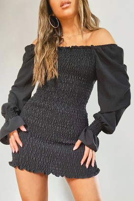 boohoo Petite Volume Sleeve Shirred Mini Dress