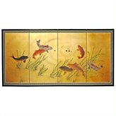 Oriental Furniture Unique Housewarming Gift Idea, 36 by 72-Inch 7 Lucky Fish Feng Shui Oriental Wall Art Screen