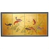 Oriental Furniture Unique Housewarming Gift Idea, 36 by 72-Inch 7 Lucky Fish Feng Shui Oriental Wall Art Screen