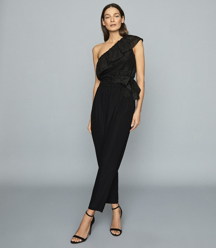 Reiss NORA SPOTTED ONE-SHOULDER CROP TOP Black