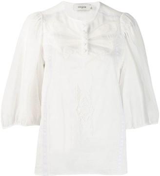 Coach lace trim blouse