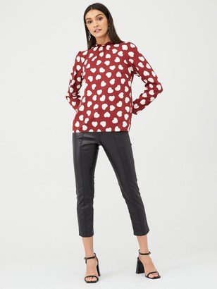 Very High Neck Blouse - Heart Print
