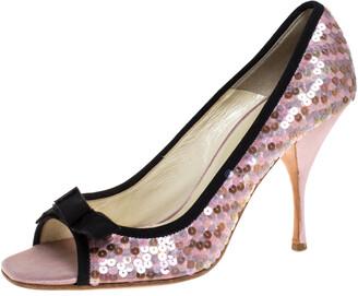Prada Pink Satin Sequin Embellished Bow Detail Peep Toe Pumps Size 38.5