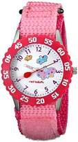 """Red Balloon Kids' W000182 """"Butterflies Time Teacher"""" Stainless Steel Watch with Pink Nylon Band"""
