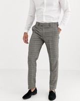 Harry Brown slim fit brown overcheck suit trousers-Grey