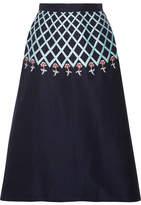 Temperley London Poppy Field Embroidered Cotton-poplin Midi Skirt - Navy