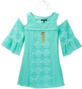 My Michelle mymichelle Cold Shoulder Crochet Dress & Necklace Set (Big Girls)