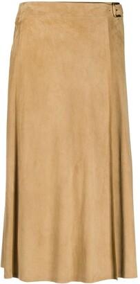 Ralph Lauren Collection Buckled Suede Midi Skirt