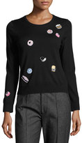 Marc Jacobs Candy-Embellished Merino Wool Crewneck Sweater, Black