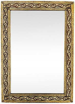 One Kings Lane Vintage Moroccan Engraved Wall Mirror - The Moroccan Room - gold/brown/multi
