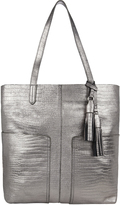 Accessorize Leather Croc Double Pocket Shopper Bag