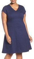Sejour Plus Size Women's Stretch Knit A-Line Dress