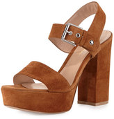 Gianvito Rossi Suede Two-Band Platform Sandal, Luggage