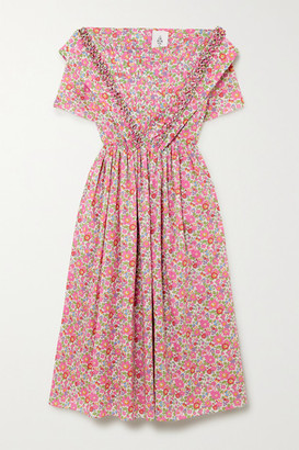 Horror Vacui Phillipine Ruffled Pintucked Floral-print Cotton Midi Dress - Pink