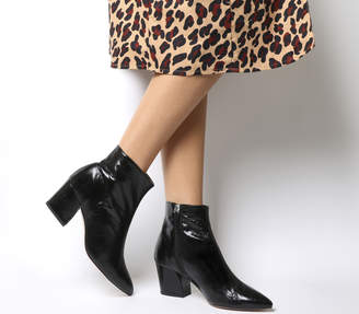 Office Aubergine Curved Heel Ankle Boots Black Leather