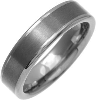 Theia Nickel Free Tungsten Flat Court Shape Matt Centre 6mm Ring - Size P