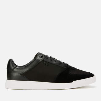 BOSS Men's Cosmo Suede/Leather Tennis Trainers - Black