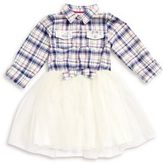 Little Lass Little Girl's Flannel and Tulle Dress