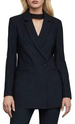 BCBGMAXAZRIA Tailored-Fit Textured Double-Breasted Blazer
