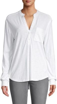 James Perse Split-Neck Cotton-Blend Top