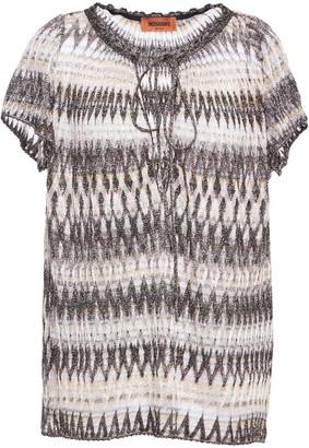Missoni Metallic Crochet-knit Blouse