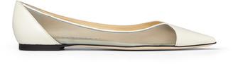 Jimmy Choo SAIA FLAT Latte Leather and Mesh Pointed Toe Flats