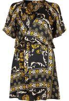 River Island Womens Black print cold shoulder tea dress