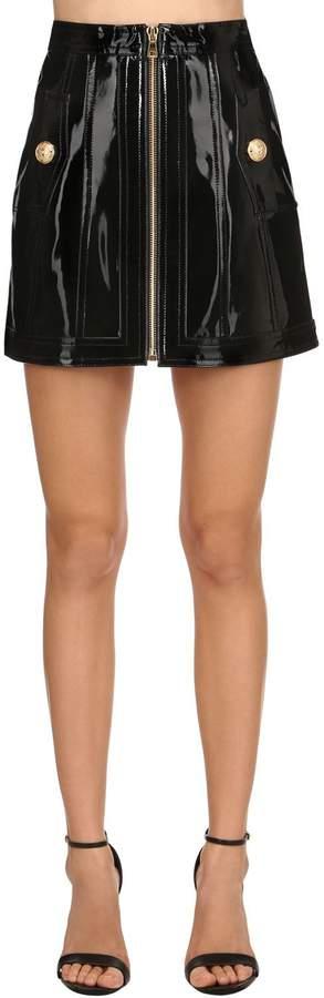 Balmain Patent Leather Mini Skirt