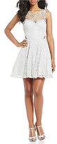 Jodi Kristopher Lace Applique Fit-And-Flare Dress