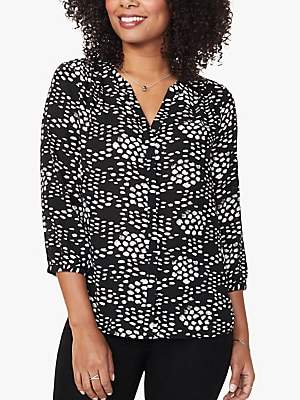 NYDJ Pleat Back Spot Print Blouse, Speckled