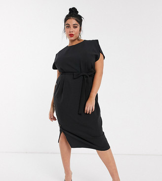 Asos DESIGN Curve cap sleeve split sleeve midi dress with button skirt in black