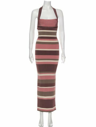 Herve Leger Striped Long Dress Purple