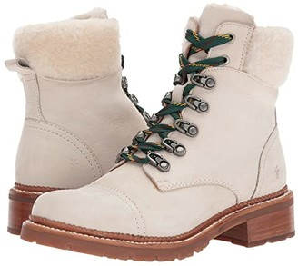 Frye Samantha Hiker (Ivory Sunwashed Nubuck) Women's Lace-up Boots