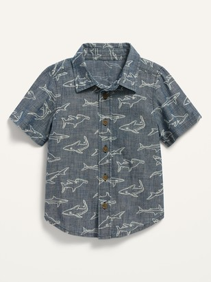 Old Navy Short-Sleeve Shark-Print Chambray Shirt for Toddler Boys
