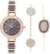 INC International Concepts Women's Rose Gold-Tone and Gray Acrylic Bracelet Watch & Bracelets Set 30mm, Only at Macy's