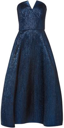 Roland Mouret Aldrich Strapless Lame Midi Dress