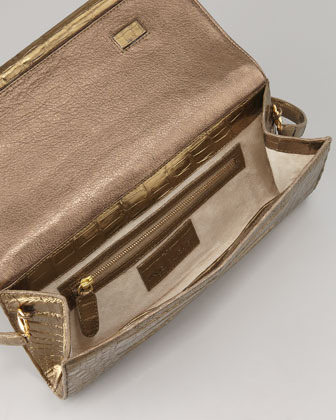 Nancy Gonzalez Small Crocodile Bar Flap Clutch Bag, Bronze