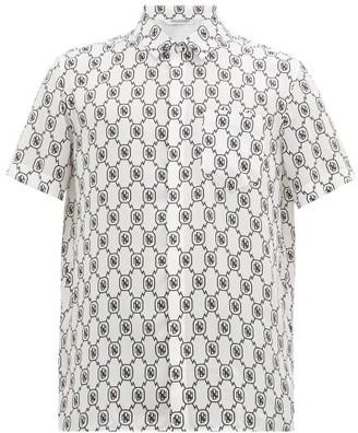 Neil Barrett Monogram-print Satin Short-sleeved Shirt - White Black