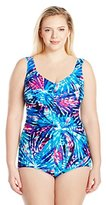Maxine Of Hollywood Women's Plus Size Firework Tie-Dye Shirred Girl Leg One Piece Swimsuit