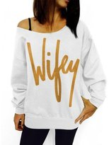 Leegor Fashion Letter Print Loose Sweatshirt Casual Pullover Hooded Blouse (L, )