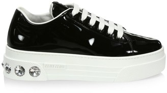 Miu Miu Crystal Skate Patent Leather Platform Sneakers