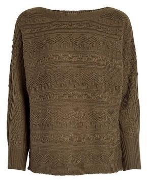 Dorothy Perkins Womens Khaki Textured Batwing Jumper, Khaki