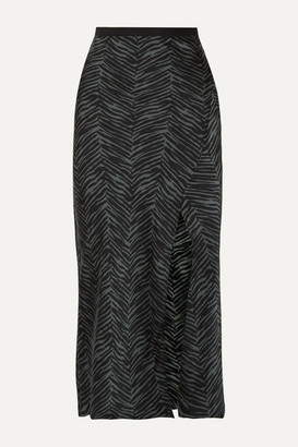 Anine Bing Dolly Animal-print Silk-satin Midi Skirt