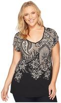Lucky Brand Plus Size Short Sleeve Big Paisley Tee Women's Clothing