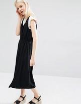 Monki V Neck Midi Dress