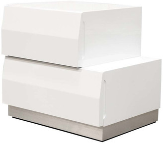 BestMasterFurniture Spain Modern White 2-Drawer Bedroom Nightstand