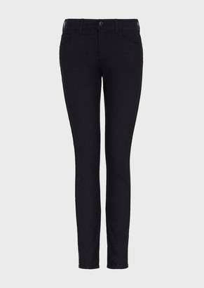 Emporio Armani J20 Super Skinny Jeans In Stretch Denim With Jacquard Profile