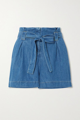 L'Agence Hillary Belted Cotton And Lyocell-blend Chambray Shorts - Blue