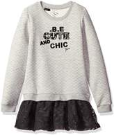 GUESS Little Girls' Long Sleeve Embroidered Quilted Fleece and Lace Dress